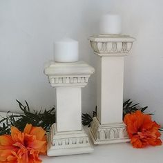 Make these candle holders out of a couple of pieces of scrap pine and moulding and then paint using Rust-Oleum spray paint. I used two different styles of polys�