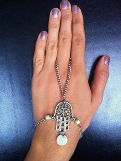 Hand of Fatima the Hand of Celestial Universal Protection hamsa bracelet silver handlace