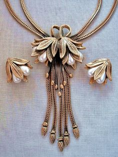 Vintage TORTOLANI Flower NECKLACE EARRINGS Art Nouveau Lily Design Tassles Signed c.1940's!