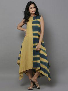 Yellow Green Clamp Dyed Cotton Dress Simple Kurti Designs, Kurta Designs Women, Blouse Designs, Stylish Dresses, Casual Dresses, Fashion Dresses, Kurti Patterns, Dress Patterns, Indian Designer Outfits