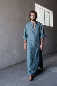 "Men's contemporary pure linen loungewear. Modern ""french blue"" tunic / kaftan."