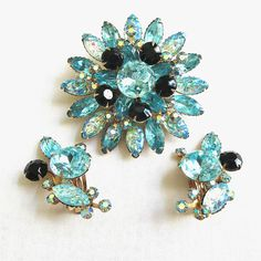 Vintage Blue & Black Rhinestones and Aurora Borealis Lava Rock Stones Brooch and Earrings Demi Parure Set by MyVintageJewels on Etsy