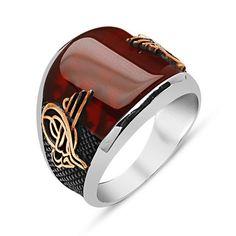 Men's Silver Ottoman Tughra Agate Ring #551 – Modefa USA