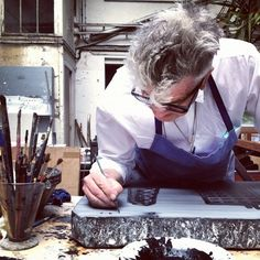 David Lynch in his Studio - hand painting a  lithographic stone. #lithography
