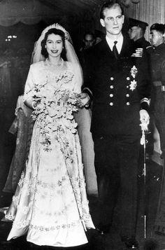 Wedding of Princess Elizabeth and Philip Mountbatten, Duke of Edinburgh, 20 November 1947. The bride's dress is by Norman Hartnell.