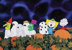 It's not Halloween without the Peanuts gang. I've watched this every year since I can remember. It's classic Halloween. Snoopy Halloween, Charlie Brown Halloween, Halloween Week, Holidays Halloween, Vintage Halloween, Happy Halloween, Halloween Costumes, Teen Costumes, Halloween Painting