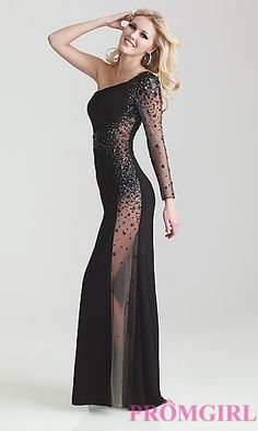 One Shoulder Sheer Black Evening Gown by Night Moves 6746 at PromGirl.com