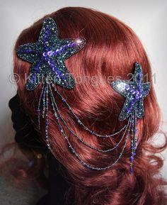 Beaded and Sequined Glitter Starfish Hair Adornment. £32.00, via Etsy. Mermaid costume