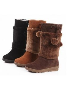 Velvet Pompom Winter Boots