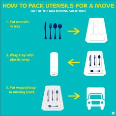 HOW TO PACK YOUR UTENSILS WHEN YOU MOVE? And today, a quick tip on how do easily pack your silverware tray. So simple you won't believe, I just did that, it took me a minute. Just take the utensils tray out of the drawer and wrap it few times with plastic wrap. And it's ready to move. How simple is that?