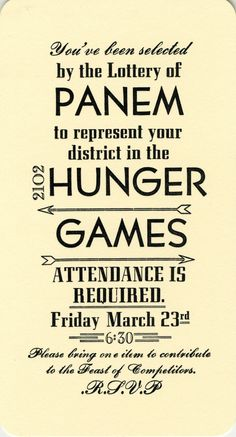 Hunger Games Party Invitations