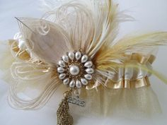 Great Gatsby Prom Garter with 2015 Charm by NakedOrchidGarters