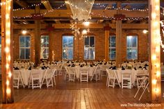 View of reception room set for a January wedding at the Starline Factory in Harvard. Photographed by The Wedding Studio, Schaumburg IL