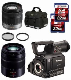 Panasonic AG-AF100A + Panasonic 14-42mm + Panasonic 45-150mm + Case + 2 Filter + Two 32GB SDHC (10) Deluxe Kit by Panasonic. $4445.00. The AG-AF100A is a micro four thirds imager cinema camcorder featuring full-HD progressive recording, 24psf 10 bit* 4:2:2 camera output. It delivers the shallow depth of field and wider field of view of a large imager, with the flexibility and cost advantages of a handheld camcorder.   The Willoughby's Panasonic Kit Includes: 1. Panasonic A...