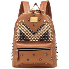 Chicnova Fashion Punk Style Backpack (180 SAR) ❤ liked on Polyvore featuring bags, backpacks, studded faux leather backpack, faux leather backpack, punk backpack, fake leather backpack and studded bag