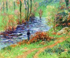 Moret, Henri, (1856-1913), Fisherman on the Banks of the River, 1905, Oil