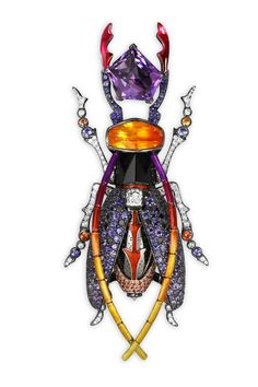 Scarab Broach. Fire Opal, Amethyst, White and Black Diamonds, Onyx, Violet and Orange Sapphires. Lorenz Bäumer.
