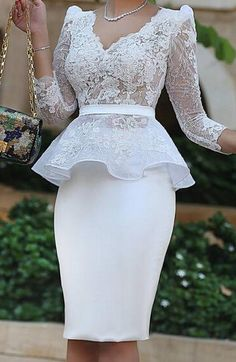 YNQNFS Elegant Ruffle Waist V Neck See Through Sheer Lace Sleeves Mother of the Bride/Groom Dresses Outfits White 2019 Price: Short African Dresses, African Lace Styles, Latest African Fashion Dresses, Bridal Outfits, Dress Outfits, Lace Gown Styles, Bride Groom Dress, Bride Dresses, Groom Outfit