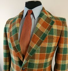 Vintage 1970s Palm Beach Sport Coat. Bold Plaid Wool Jacket. Orange Green and Cream Tweed. Size 38 39