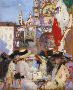Floriance's Café, Venice - Francis Campbell Boileau Cadell Scottish ,1883-1937 oil on panel, 45 by 36.8 cm., 17¾ by 14½ in.