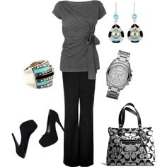 black & grey with a hint of blue.   created by heididm.polyvore.com
