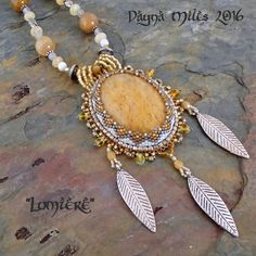 Lumiere  Bead Woven  Pendant Statement by DaynaMilesDesigns