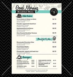 Restaurant Menu Template For Choice Of Rewards  Cafe
