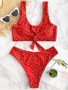 05338c5a03e Trajes de baños lindos · Juego de Bikini Heart Keyhole Knot - Rojo de  Camión de Bomberos M Dobladillo, Escote