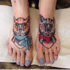 Cat tattoos by Kelly  Smith  -  Pies felinos tatuados por Kelly Smith #cattoo #tat #tattoo #tatu #tatuaje #feettattoo #piestatuados #cattattoo