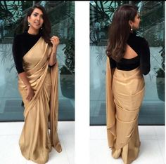 golden saree with black blouse designs Black Blouse Designs, Saree Blouse Neck Designs, Black Saree Blouse, Black Saree Plain, Full Sleeves Blouse Designs, Neckline Designs, Blouse Patterns, Churidar, Patiala