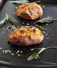 Twice Baked Sweet Potatoes with Cinnamon Cashew Cream | runningtothekitchen.com