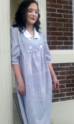Grey, Peasant Girl, Dress