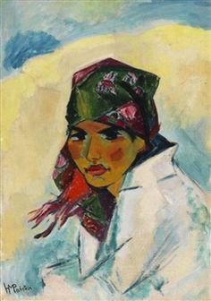 Hermann Max Pechstein (German, 1881 – Lotte with scarf (Lotte mit Kopftuch), N/D Oil on canvas Emil Nolde, Henri Matisse, Max Oppenheimer, Ludwig Meidner, George Grosz, Degenerate Art, Ernst Ludwig Kirchner, Royal Art, Dibujo