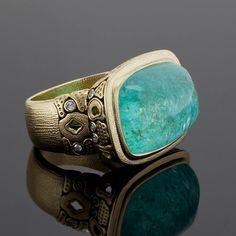 Alex Sepkus R-103 ring in 18k yellow gold with African paraiba tourmaline. DVVS Fine Jewelry