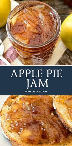 This Apple Pie Jam is incredible! All of the delicious flavors of freshly baked apple pie in a luscious, spreadable jam. This Apple Pie Jam is incredible! All of the delicious flavors of freshly baked apple pie in a luscious, spreadable jam. Jelly Recipes, Dessert Recipes, Uk Recipes, Apple Pie Jam, Apple Pie Jelly, Baking Apple Pie, Apple Pies, Cooked Apples, Jam And Jelly