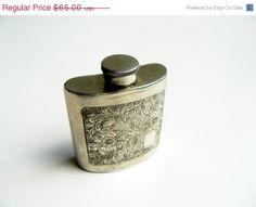 vintage ladies pewter whiskey hip flask by artyfactz, $52.00