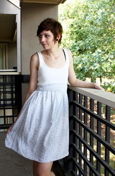 Make a dress by cutting off T-shirt and sewing on fabric skirt    Talk 2 the Trees blog