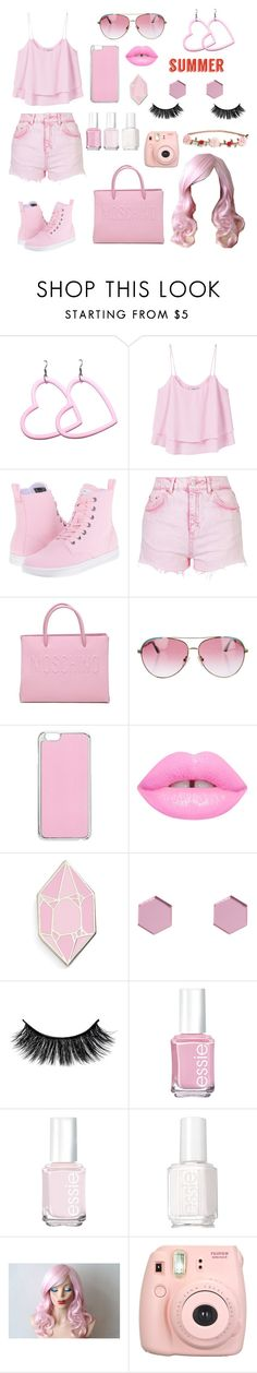 """Pink Pastel"" by veganwithachainsaw ❤ liked on Polyvore featuring MANGO, Dr. Martens, Topshop, Moschino, Minnie Rose, Miss Selfridge, Big Bud Press, Wolf & Moon, Essie and Fujifilm"