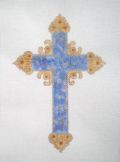 """7/"""" tall Emerald Green JEWELS CROSS handpainted 18 mesh Needlepoint Canvas by LEE"""