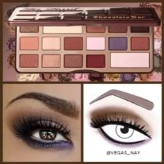 Beauty Favorite: Eye makeup using Too Faced's Chocolate Bar Palette. It's a gorgeous collection of shadows. Available at Sephora. I want this palette!!