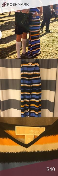 """Michael Kors Striped Maxi Dress Super light fabric. Long slit up the middle of the dress. Adjustable draw string around the waist. For reference, I am 5'2"""" 32C, 115lb. MICHAEL Michael Kors Dresses Maxi"""
