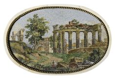 A carved neoclassical white marble, green granite and micro-mosaic chimney piece, Rome, circa 1778-1780, the chimneypiece attributed to Lorenzo Cardelli, the micro-mosaic panels attributed to Cesare Aguatti