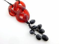 LALIQUE-SERPENT-RED-ONYX-NECKLACE-PEND-CRYSTAL-REF-10019700-RETAIL-715
