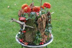 bloemschikken met boomschors