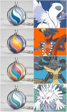 Pkmn Mega Stone pendants Necklace