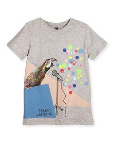 K0LY3 Stella McCartney Arlow Parrot Karaoke Jersey Tee, Gray, Size 4-12