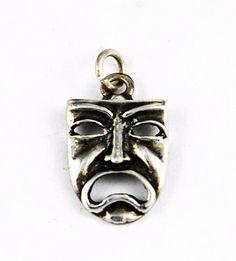 Sterling Silver Greek Tragedy Mask Charm