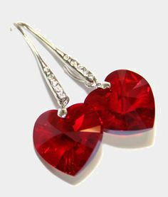 Siam Red Swarovski Heart Crystal Earrings I have the red hearts but not the findings csa