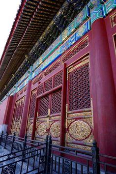A beautiful wooden door at Forbidden City, Beijing