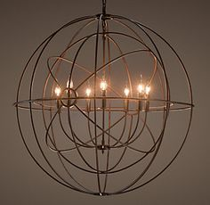 Foucault's Twin-Orb Chandelier Rustic Iron from Restoration Hardware. Shop more products from Restoration Hardware on Wanelo. Orb Chandelier, Chandelier In Living Room, Iron Chandeliers, Rustic Chandelier, Living Room Lighting, Bedroom Lighting, My Living Room, Chandelier Ideas, Pendant Lamps